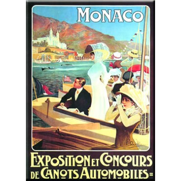 "French Metal Sign ""Monaco Exposition"" - 5.9""x8.3"" - made in France"