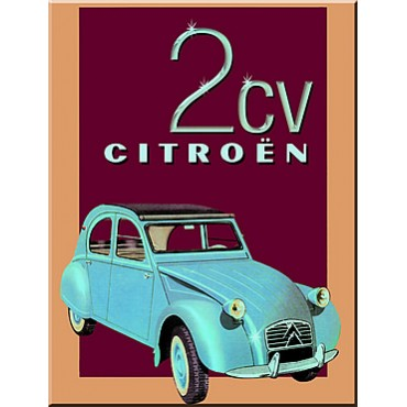 "French Metal Sign Citroen 2 CV  5.9""x8.3"""