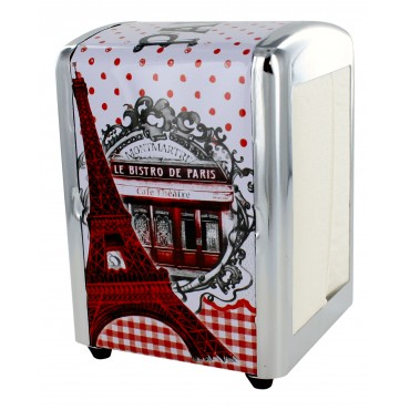 "French Napkins dispenser ""Bistro de Paris Montmartre"" + 1 refill of 100 Napkins"