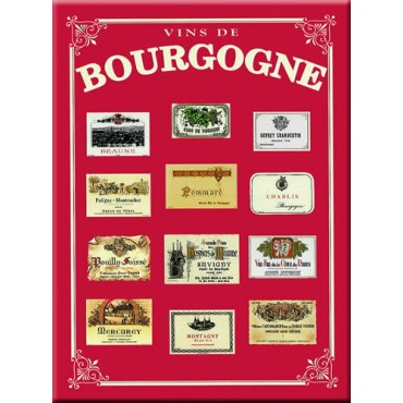 "French Metal Sign ""Vins de Bourgogne""  12""x16"""