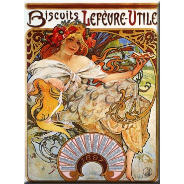 "French Metal Sign Biscuits Lefevre-Utile By Mucha 12""x16"""