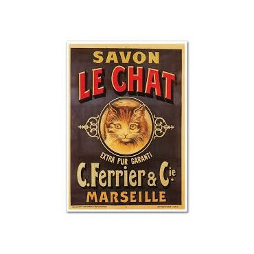 "French Metal Sign ""Savon Le Chat"" 12""x16"""