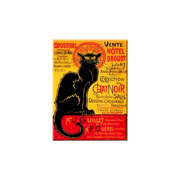 "French Metal Sign ""Le chat noir Drouot"" 12""x16"""